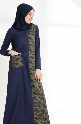 Navy Blue İslamitische Jurk 3084A-01