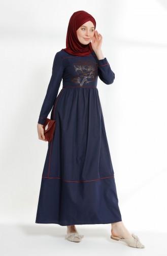 Biye Detaylı Baskılı Elbise 9020-05 Lacivert