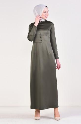 Button Detailed Dress 8001-01 Khaki 8001-01