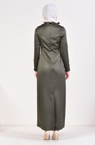 Düğme Detaylı Elbise 8001-01 Haki 8001-01