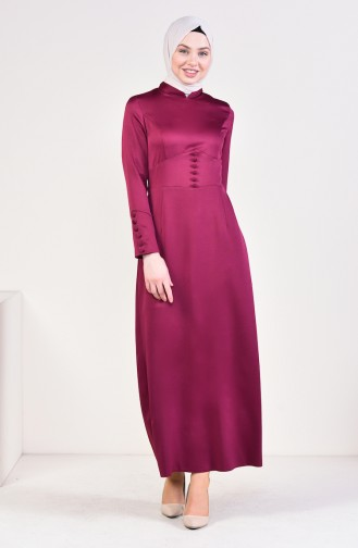 Button Detailed Dress 8001-02 Plum 8001-02