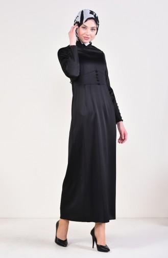 Button Detailed Dress 8001-05 Black 8001-05