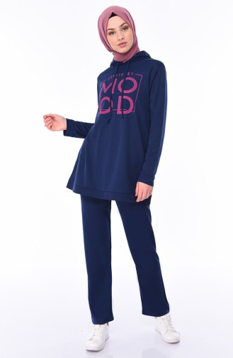 Printed Tunic Pants Binary Suit 9010-02 Indigo 9010-02