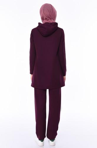 Printed Tunic Pants Binary Suit 9010-03 Plum 9010-03