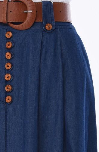 Jeans Rock mit Gürtel 7001-02 Dunkelblau 7001-02