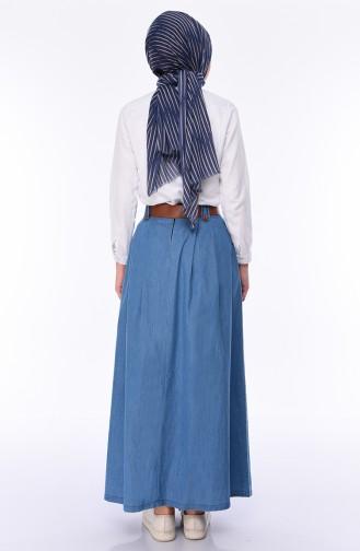 Belted Jeans Skirt 7001-02 Blue Jeans 7001-02