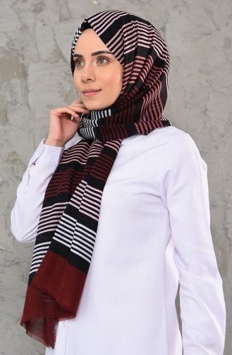 Desenli Cotton Şal 901475-10 Bordo 901475-10