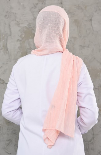 Düz Pliseli Pamuk Şal 1001-12 Pudra