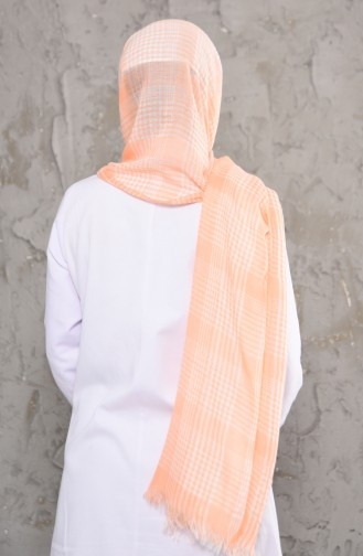Plaid Patterned Cotton Shawl 1002-03 Orange 1002-03