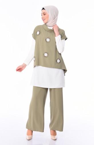 sequined 3 Pisces Suit 0101-04 Khaki 0101-04