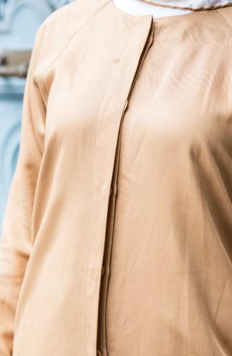 Gizli Düğmeli Tunik Pantolon İkili Takım 6334-01 Camel