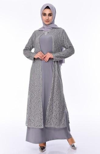 Plus Size Evening Dress 1062-07 Gray 1062-07