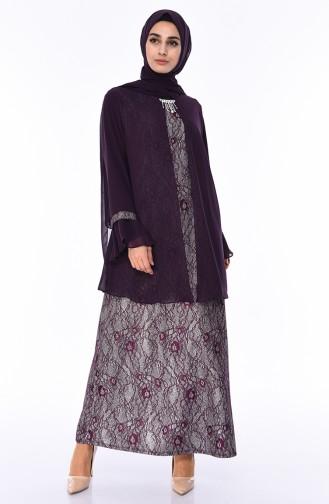 Plus Size Brooch Silvery Evening Dress 3037-03 Purple 3037-03