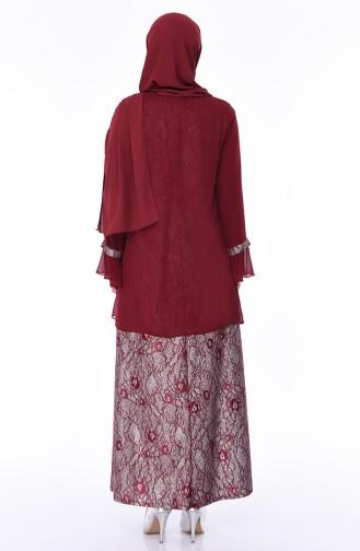 Plus Size Brooch Silvery Evening Dress 3037-05 Bordeaux 3037-05
