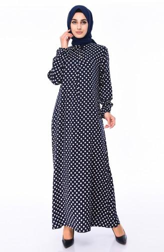 Elastic Sleeve Viscose Dress  0541-02 Navy Blue 0541-02