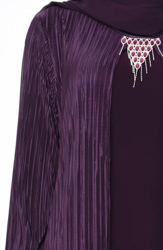 فستان بتصميم موصول بقطعة و بمقاسات كبيرة 1064-03 لون بنفسجي 1064-03