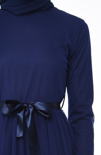 Belted Tulle Dress 4024-02 Navy Blue 4024-02