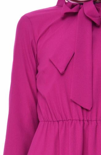 فستان بتفاصيل من الطيات1019-07 لون بنفسجي 1019-07