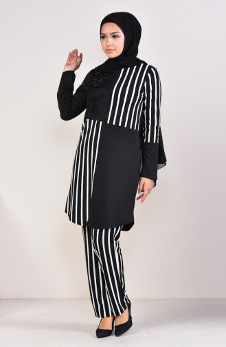 Striped Tunic Pants Binary Suit  1917-01 Black 1917-01