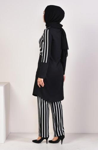 Striped Tunic Pants Binary Suit  1917-01 Black 1917-01