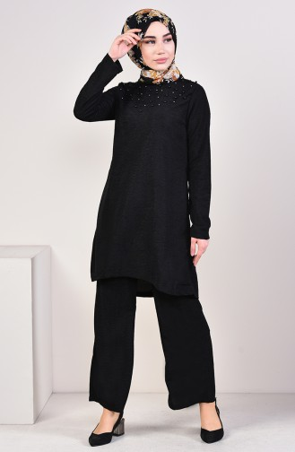 İncili Tunik Pantolon İkili Takım 3810-01 Siyah 3810-01