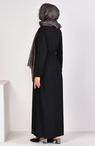 Nakışlı Sandy Elbise 4122-05 Siyah