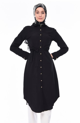 Belted Long Tunic 1001-01 Black 1001-01