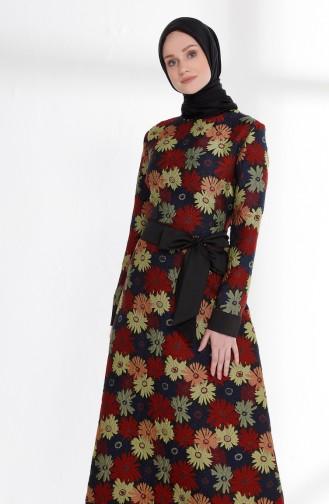 فستان مورّد بتصميم حزام للخصر  7213-05 لون خمري 7213-05