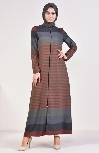 Striped Zippered Abaya 1020-05 Khaki 1020-05