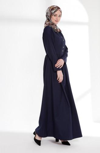 Önü Nervürlü Elbise 7273-10 Lacivert