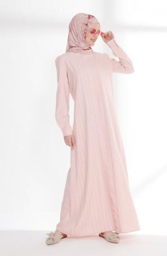 Pamuklu Üç Garnili Elbise 5007-03 Pembe
