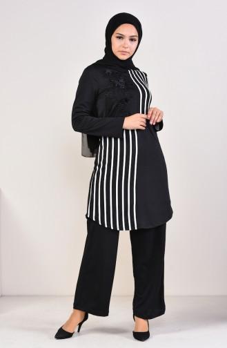 Striped Tunic Pants Binary Suit 1916-01 Black 1916-01