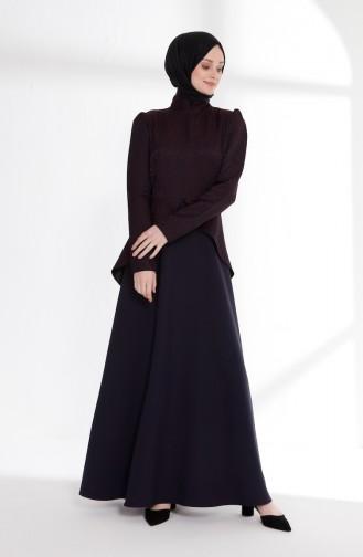 Jacquard Peplum Dress 7244-01 Navy Blue 7244-01