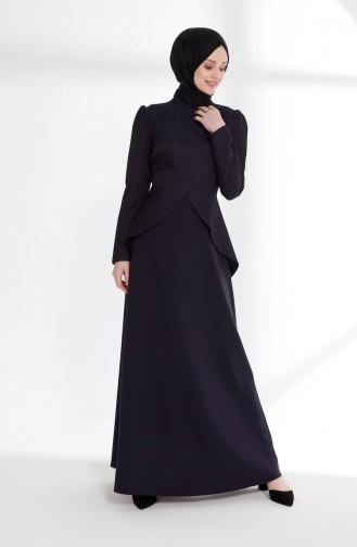 Jacquard Peplum Dress 7244-02 Light Navy Blue 7244-02