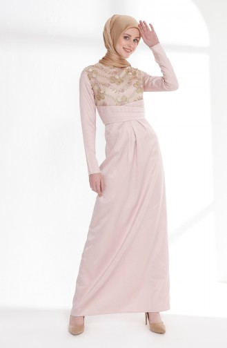 Dantel Detaylı Korsajlı Elbise 7245-02 Pudra