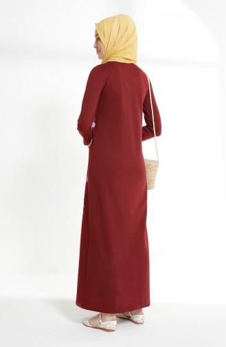 Claret red İslamitische Jurk 5041-02