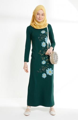 Çiçek Baskılı İki İplik Elbise 5041-10 Zümrüt Yeşili