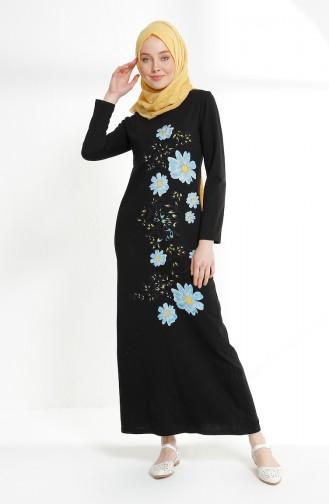 Çiçek Baskılı İki İplik Elbise 5041-06 Siyah