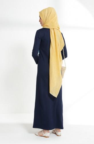 Navy Blue İslamitische Jurk 5041-04