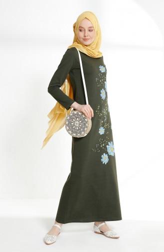 Çiçek Baskılı İki İplik Elbise 5008-10 Haki 5008-10