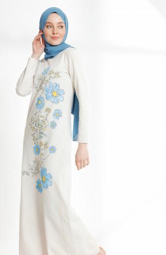 Flower Printed Two Thread Dress 5041-01 Ecru 5041-01