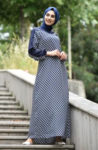 Dunkelblau Hijap Kleider 10134-08