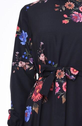 Flower Patterned Dress 5007-01 Black 5007-01
