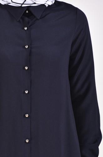 Buttoned Viscose Tunic 3019-02 Black 3019-02