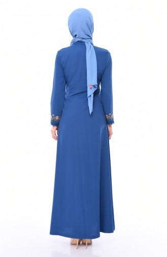 Embroidered Summer Abaya  9047-02 Indigo 9047-02