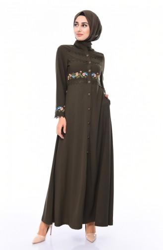 Embroidered Summer Abaya  9047-03 Khaki 9047-03