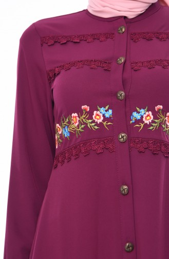 Embroidered Summer Abaya  9047-04 Plum 9047-04