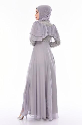 Payetli Abiye Elbise 12003-07 Gri