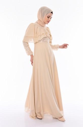 Sequined Evening Dress 12003-08 Beige 12003-08