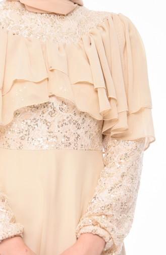فستان سهر بتفاصيل من الترتر12003-08 لون بيج 12003-08